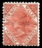 Lot 1061:1867-93 DLR Wmk Single-Lined Numeral SG #203 4d red-brown.