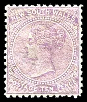 Lot 5569:1867-93 DLR Wmk Single-Lined Numeral SG #205 10d lilac P13.