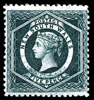 Lot 1064:1882-97 Wmk 2nd Crown/NSW SG #233a 5d blue-green P12 with wmk from edge of sheet.