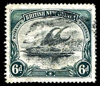 Lot 4297:1901-05 BRITISH NEW GUINEA Wmk Horizontal SG #6 6d black & myrtle-green.