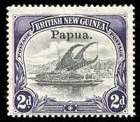Lot 27093:1906-07 Opt Small Papua Wmk Vertical SG #40 2d black & violet.
