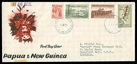 Lot 24127:1958 New Values illustrated long envelope with 4d, 7d, 1/7d Cattle & 5/- Coffee tied by Port Moresby cds 2 JE58.