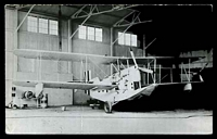 Lot 48:Aircraft: black & white PPC 'Loening OL8' flying boat in hanger, real photo.