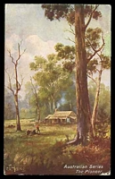 Lot 310 [1 of 2]:Australia - Artist: multi-coloured PPC 'The Pioneer', a J Hutchings card used in 1907.