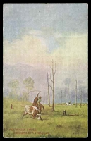 Lot 40:Australia - Artist: multi-coloured PPC 'Rounding up a Straggler' by A MacInnes.