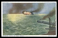 Lot 97:Military: multi-coloured PPC 'Broadside salvoes of H.M.S. Africa'.