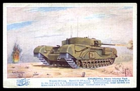 Lot 535:Military: multi-coloured PPC 'Churchill Heavy Infantry Tank' illustrated card by Alan Anderson.