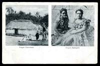 Lot 117:Tonga: Black & white PPC with scene of Togan Native house and Tongan native girls, fine early card.