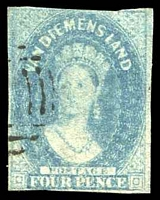 Lot 1755:1857-69 Imperf Chalon Wmk Double-Lined Numeral SG #37 4d blue, three clear margins.