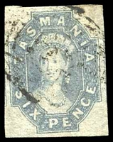 Lot 1800:1860-67 Imperf Chalon Wmk Double-Lined Numeral SG #44 6d dull slate-grey, four clear margins.