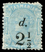 Lot 2218:1891 Surcharged in Numerals Perf 12 SG #169 2½d on 9d pale blue.