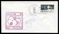 Lot 29333:1973 Skylab II cover with cachet in red signed by Astronaut Rusty Schweickart.