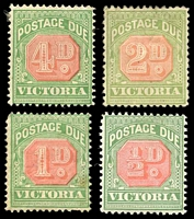 Lot 11326:1895-96 New Colours SG #D11-14 ½d - 4d. (4)