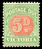 Lot 11327:1895-96 New Colours SG #D15 5d rosine & bluish green.