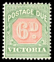Lot 11328:1895-96 New Colours SG #D16 6d rosine & bluish green
