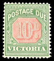 Lot 11329:1895-96 New Colours SG #D17 10d rosine & bluish green.