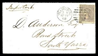 Lot 1873:1868 neat local cover with 2d grey Laureate tied by Melbourne duplex AP 11 68.