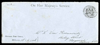 Lot 11647 [1 of 2]:Postmaster General: 1898 use of long OHMS General Post Office envelope with Melbourne cds 18Nov 98.