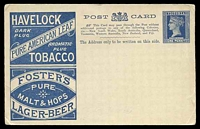 Lot 1972:1895 Beer & Baccy Stieg #P18 1d dark blue on cream Advertising card, minor adherence on reverse.