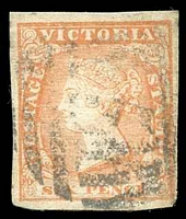 Lot 10017:1854-55 Imperf Calvert Woodblocks SG #32a 6d dull orange four good margins
