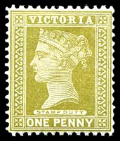 Lot 1956:1899-1901 Stamp Duty Wmk 4th V/Crown SG #358 1d olive.