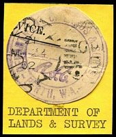 Lot 16491:Department of Lands & Survey: Large handstamp in violet with Perth W.A. cut to shape.