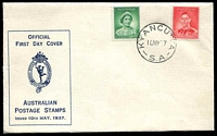 Lot 4466:APO 1937 1d QE & 2d KGVI on Hermes cover tied by Kyancutta cds 10MY37, unaddressed.