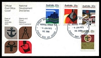 Lot 693:APO 1973 National Development set tied to illustrated cover by Russell Street cds 6 JUN 1973, unaddressed.