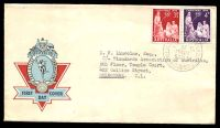 Lot 1042:APO 1958 Christmas set on Hermes illustrated FDC with Christmas pair tied by Philatelic Bureau cds 5 NOV 58.