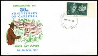 Lot 516:Australian Cover Collectors' Association 1963 50th Anniversary of Canberra illustrated FDC with 5d Canberra tied by Edinburgh Airfield cds 8MR 63, unaddressed.