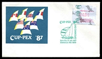 Lot 4248:1987 Cuppex Frama illustrated cover with 50c Cuppex Frama tied by Cuppex 87 Opening Day FDC 31JAN 1987, unaddressed.