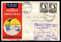 Lot 4801:1952 Australia - South Africa AAMC #1307 illustrated Qantas cover with adhesives tied by Sydney cds 1SE52 with special cachet in violet at lower right.