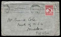 Lot 786:1913 cover to Maldon with 1d Roo Die I tied by Melbourne Machine cancel 26JL13, a few minor faults.