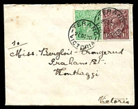 Lot 617:1920 cover to Wonthaggi with KGV ½d green and 1½d chocolate tied by Terang cds 21OC 20.