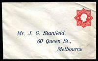 Lot 4054:1922-23 2d Red KGV Star With 'POSTAGE' BW #ES61 on pre-addressed envelope for J G Stanfield Queen St Melbourne, few minor creases.