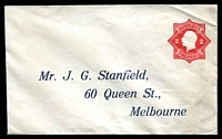 Lot 4263:1922-23 2d Red KGV Star With 'POSTAGE' BW #ES61 on pre-addressed envelope for J G Stanfield Queen St Melbourne, few minor creases.