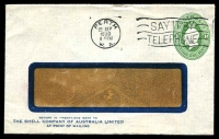 Lot 4269:1928-37 1d Green KGV Oval BW #ES64 window faced envelope for The Shell Company of Australia with Shell Emblem on back flap used from Perth in 1930.