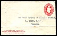 Lot 1011 [1 of 2]:1941-50 2½d Red KGVI Oval BW #ES86 2½d red, issued for The Shell Company of Australia with Shell symbol on back flap, few minor faults.