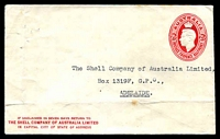 Lot 4290 [1 of 2]:1941-50 2½d Red KGVI Oval BW #ES86 2½d red, issued for The Shell Company of Australia with Shell symbol on back flap, few minor faults.