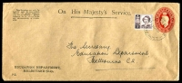 Lot 702:1941-50 2½d Red KGVI Oval BW #ES86 on OHMS long envelope issued for Education Deparment Melbourne with additional 1d Princess Perf 'VG' used in 1953.