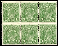 Lot 2781:1d Green - BW #79 block of 6 (3**).