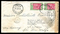 Lot 20707 [1 of 2]:1941 cover to USA with 50c pair tied by Eseka cds 17 JAN 41 with Controle Postal Militaire censor tape at left and OUVERT PAR L'AUTORITE MILITAIRE handstamp together Controle Postal intaligo handstamp, nice censor cover.