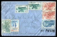 Lot 17289:1949 Airmail cover to USA with adhesives tied by Bafia cds 30 MAI 1949 with BCG Tuberculose cinderella also tied by Bafia cds.