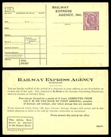 Lot 3786 [1 of 2]:KGVI Post Cards: printed for Railway Express Agency Inc with 3c violet KGVI, two different cards, rare mint survivors. (2)