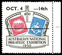 Lot 27:Australia - Exhibition: 1950 Australian National Philatelic Exhibition label with date overprint, marginal example.