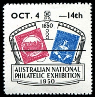 Lot 2:Australia: 1950 Australian National Philatelic Exhibition label with Overprint OCT 4 - 14th .