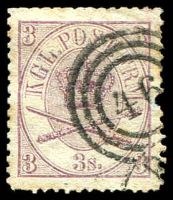 Lot 3393:1864 Crown in Double Oval SG #24 3s mauve, pulled perf, Cat £90.