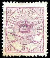 Lot 3415:1864 Crown in Double Oval SG #25 3s lilac-rose, Cat £80, mint no gum.