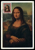 Lot 3810:1952 Mona Lisa 5pf tied to Mona Lisa maxi card by cds 15 12 52, nice maxim card.