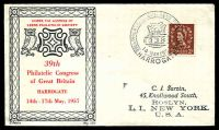Lot 20771:1957 39th Philatelic Congress of Great Britain illustrated cover with adhesive tied by Congress commemorative cancel Harrogate 14 MAY 1957.